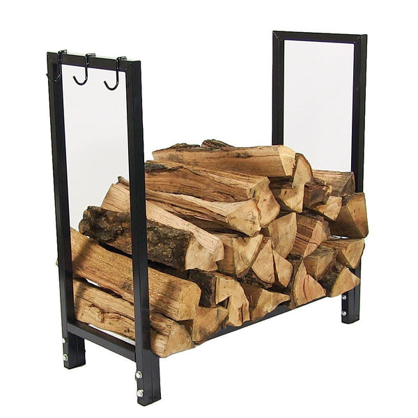 Sunnydaze 30 Inch Black Steel Firewood Log Holder