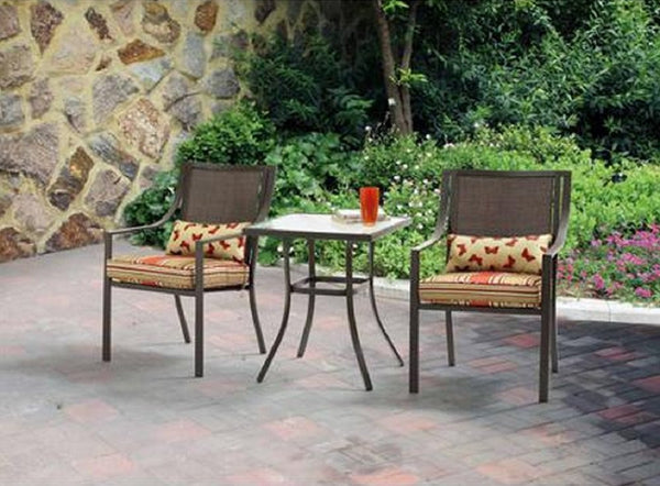 Alexandra Square 3-Piece Outdoor Bistro Set Red Stripe with Butterflies Seats 2 Outdoors Relax Grill sun poarch