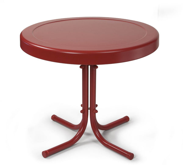 Crosley Retro Metal Side Table, Coral Red