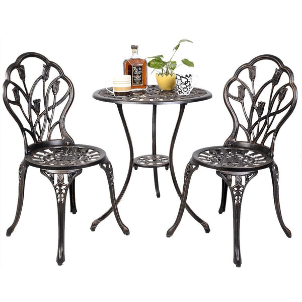 Giantex Patio Furniture Cast Aluminum Rose Design Bistro Set Antique Green (Brown)