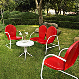 Crosley 4-Piece Griffith Metal Outdoor Conversation Seating Set, Red