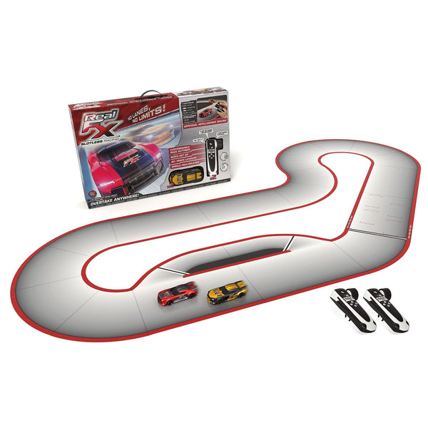 Real FX Racing:  Slotless Racetrack System including two RC Cars and Handsets with Artificial Intelligence. A Next Generation Tech Toy! (Starter Set)