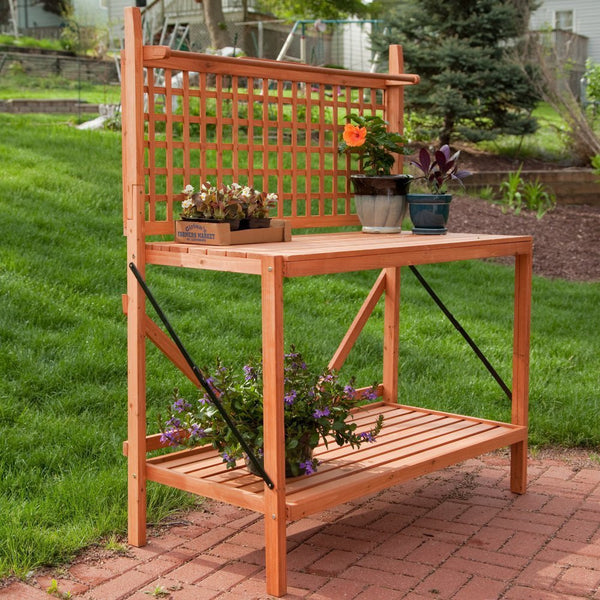 Coral Coast Fir Wood Foldable Potting Bench