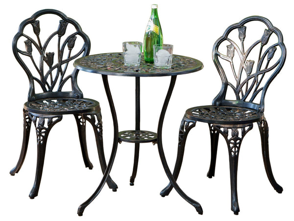 Best Selling Nassau Cast Aluminum Outdoor Bistro Furniture Set, Brown U2013  Luxberra