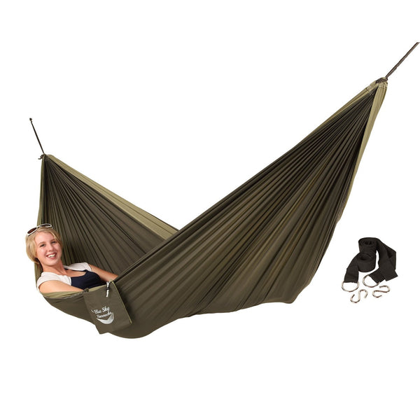 Blue Sky Outdoor Couple's Double Ultralight Hammock with Free Tree Straps, Green