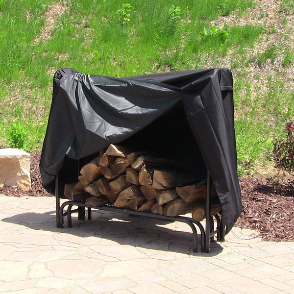 Sunnydaze Heavy Duty Firewood Log Rack Cover, Black, 4 Foot