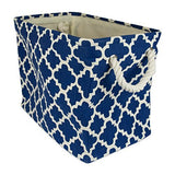 DII Printed Polyester, Collapsible and Convenient Storage Bin To Organize Office, Bedroom, Closet, Kid's Toys, & Laundry - Large Rectangle, Navy Lattice