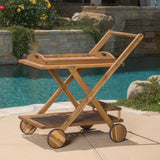Outdoor Bar Cart Made From Acacia Wood in Natural Finish, Two Front Legs Has Wheels for Mobility - Cart Includes Wood Tray for Serving