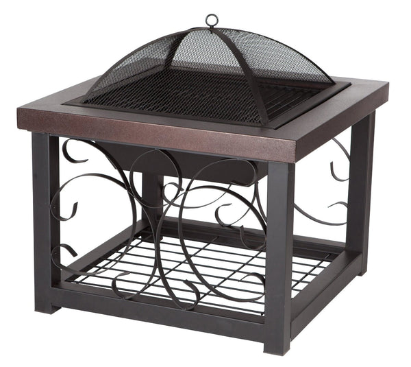 Fire Sense Cocktail Table Fire Pit, Hammer Tone Bronze Finish