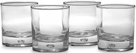 Circleware CG Oslo High Class Air Bubble Whiskey Glass Drinking Glasses Set, 10 Ounce, Set of 4 Double Old Fashioned Clear Heavy Base Scotch Glass Cups with Air Bubble Design in Glass