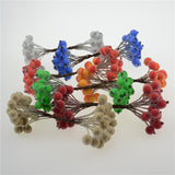20pcs/40head Mini Fake Fruit glass Berries Artificial pomegranate red cherry Bouquet Stamen Christmas Decorative Double heads