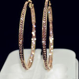 Earrings With rhinestone circle Simple earrings big circle gold plated hoop earrings for women