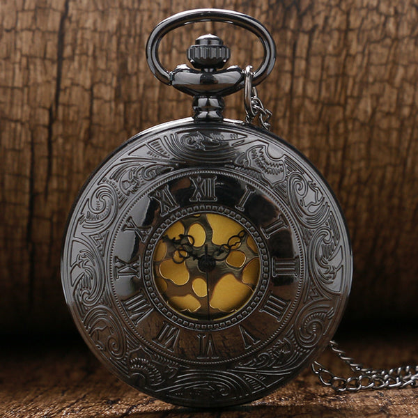Black Gray Roman Dial quartz Vintage Antique Pocket Watch necklace watches with chain