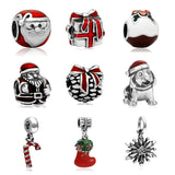 Silver Plated Enamel Santa Christmas Gift Box Charm Bead Fit European Pandora Charms Bracelet DIY Jewelry Making