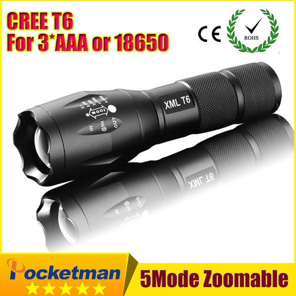 E17 CREE XM-L T6 3800Lumens cree led Torch Zoomable cree LED Flashlight Torch light For 3xAAA or 1x18650
