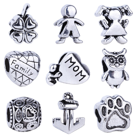 1pc Silver Bead Charm European Love Heart Clover Owl Boy Dog Paw Family Fashion Bead Fit Pandora Bracelet Necklace