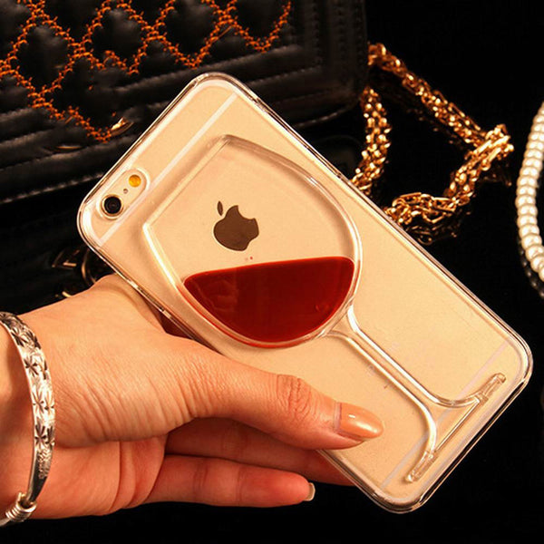 Liquid Quicksand Red Wine Transparent Phone Case Hard PC Back Cover for iPhone 7 For iPhone 4 4S 5 5S SE 5C 6 6S 7 Plus