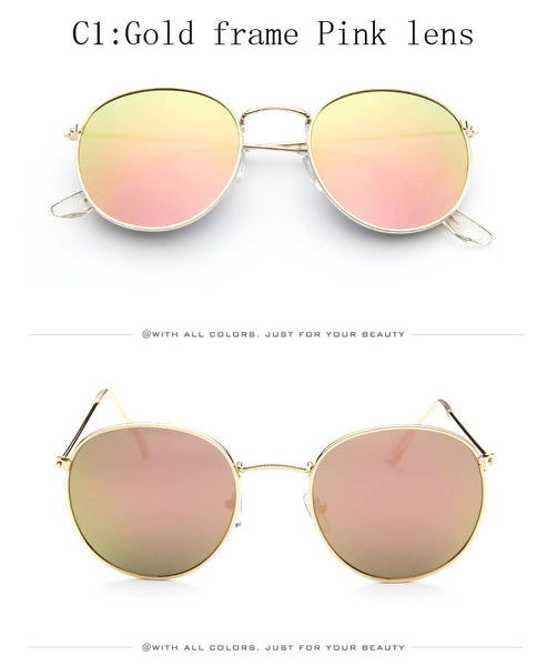 Vintage Round Sunglasses Women men female brand Metal Frames Mirror Lenses Sun Glasses For women retro Male