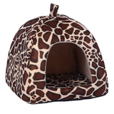 Pet Cat House Foldable Soft Winter Leopard Dog Bed Strawberry Cave Dog House Cute Kennel Nest Dog Fleece Cat Bed