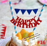 1pcs mickey mouse theme happy birthday  flag with paper straw cupcake cake topper birthday cake accessories party supplies