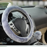1PCS High Quality Soft Warm Wool Plush Winter Car Steering Wheel Cover Universal Auto Supplies Car styling Accessories