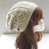 Women  Design Caps Twist Pattern Winter Hat Knitted Sweater Fashion beanie Hats For Women 6 colors