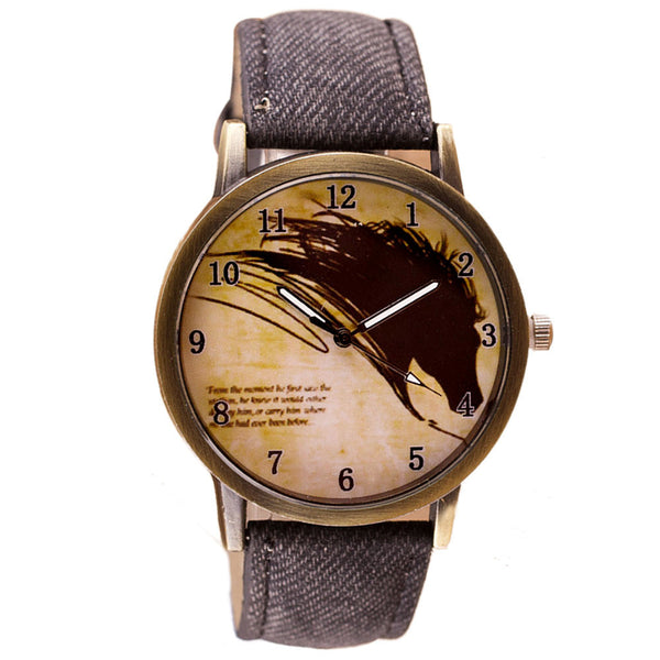 Vintage Brief Painting Horse Watch Quartz Wrist Watches Unisex