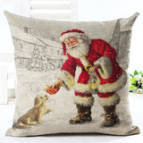 "18"" Merry Christmas Series Cushion Cover Santa Claus Christmas Tree Christmas Gifts And Snowman Printing Throw Pillow Pillowcase"
