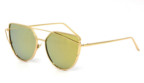 d53df9a02c ... Womens 6 Colour Luxury Flat Top Cat Eye Sunglasses Twin Beam Sunglasses  Double-Deck Alloy ...