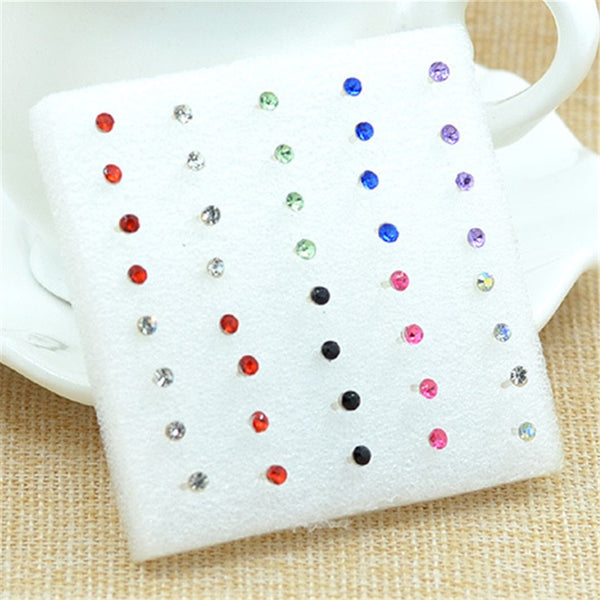 20pairs/pack Fashion Multicolor Round Rhinestone Crystal Plastic Hypoallergenic Stud Girls Earrings