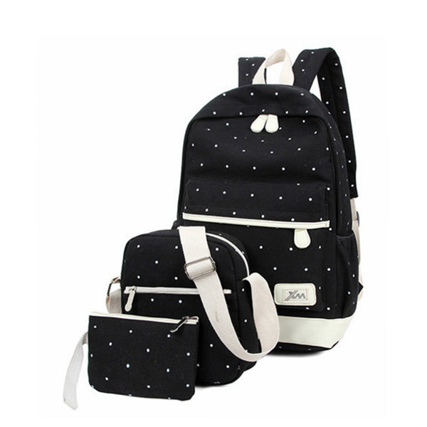 3pcs/set Canvas Fashion Backpacks for Girls Casual Women Backpack Preppy Polka Dot Computer Travel Bags