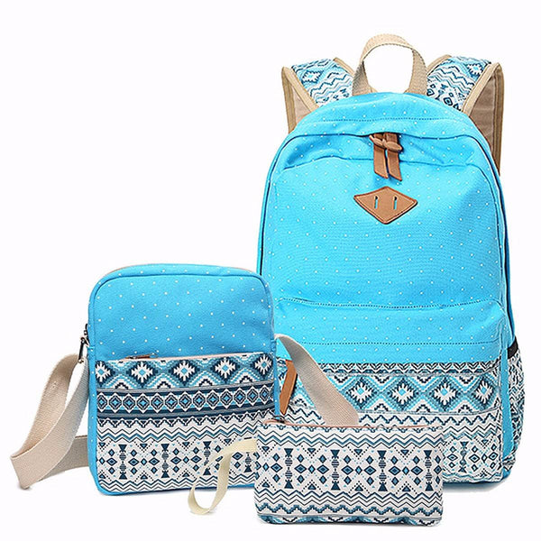 230b717a64a1 3 pcs set Women Backpack Canvas Printing School Bags Girls Backpacks C –  Luxberra