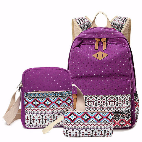 104c93157831 ... 3 pcs set Women Backpack Canvas Printing School Bags Girls Backpacks  Cute Rucksack Schoolbag Lady ...