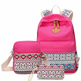 3 pcs/set Women Backpack Canvas Printing School Bags Girls Backpacks Cute Rucksack Schoolbag Lady Bookbags