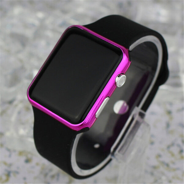 Square Mirror Face Silicone Band Digital Watch Red LED Watches Metal frame WristWatch Sport Clock Hours, 4 colors