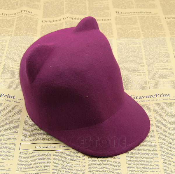 Womens Devil Hat Cute Kitty Cat Ears Wool Derby Bowler Cap