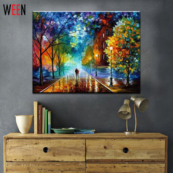 Rural Landscape Painting by Number  DIY Oil Paint 40X50cm Canvas Art Lovers Walks In the Street Oil Painting Home Decor