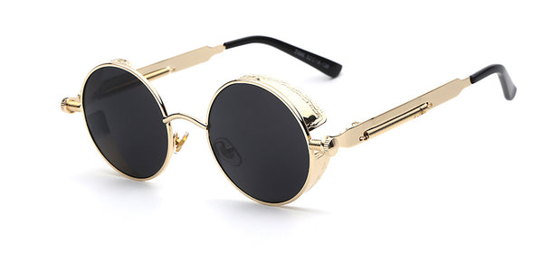 Gothic Steampunk Mens Sunglasses Coating Mirrored Round Circle Sun glasses Retro Vintage