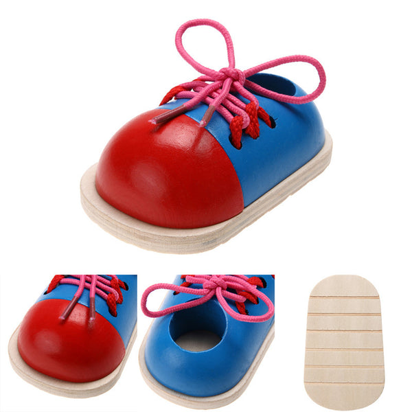 1pc Fashion Kids Montessori Educational Toys Children Wooden Toys Toddler Lacing Shoes Early Education Montessori Teaching Aids