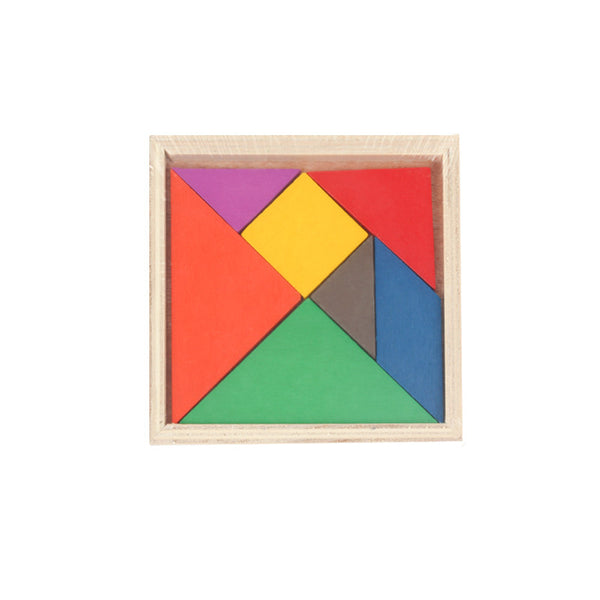 1Pcs Children's Mental Development Tangram Wooden Jigsaw Puzzle Baby Boys Girls Gifts Wood Educational Toys For Kids