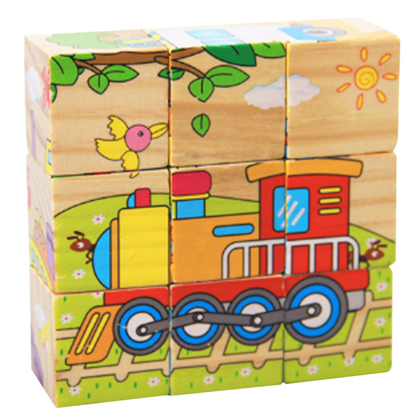 3D Puzzle Educational Toys Six Sides 9Pcs Wooden Magic Cubes Baby Transportation Jigsaw Puzzle Cube