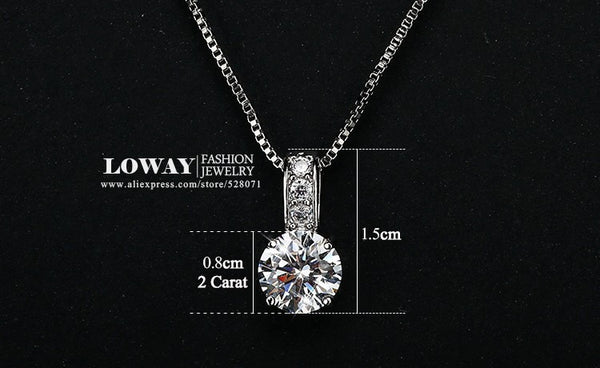 Simple Fashion Jewelry Platinum Plated Round Shape 2 Carat Cubic Zirconia Pendant Necklace for Women