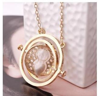 Gold plated time turner necklace hourglass vintage pendant Hermione Granger for girls