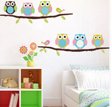 Owls on tree wall stickers for kids rooms decorative adesivo de parede pvc wall decal