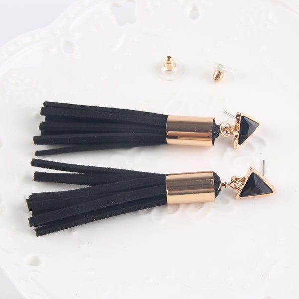 Vintage Triangle Tassel Drop Earrings Faux Suede Fabric Long Dangle Earrings for Women