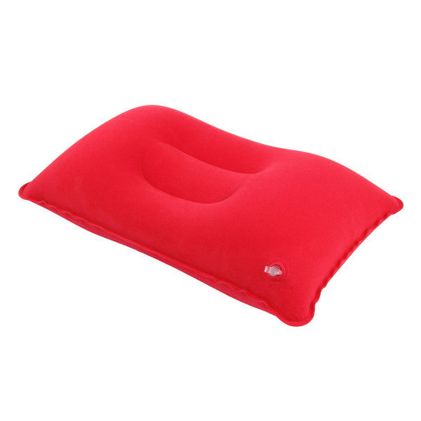 1pc Outdoor Portable Folding Air Inflatable Pillow Double Sided Flocking Cushion for Travel or Home