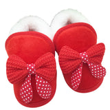 Newborn Infant Toddler Girls Warm New Bow Snow Shoes Baby Walker Crib Boots For Newborns