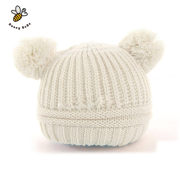 1dbbbf913d8df Dual Ball Knitted Baby Caps Boys Girls Toddler Crochet Beanie Hairball Ear  Baby Hat Cute Children Caps