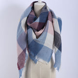 Luxury Womens Scarf Soft Cashmere Blanket Warm in Winter Fashion Plaid Square Shawls