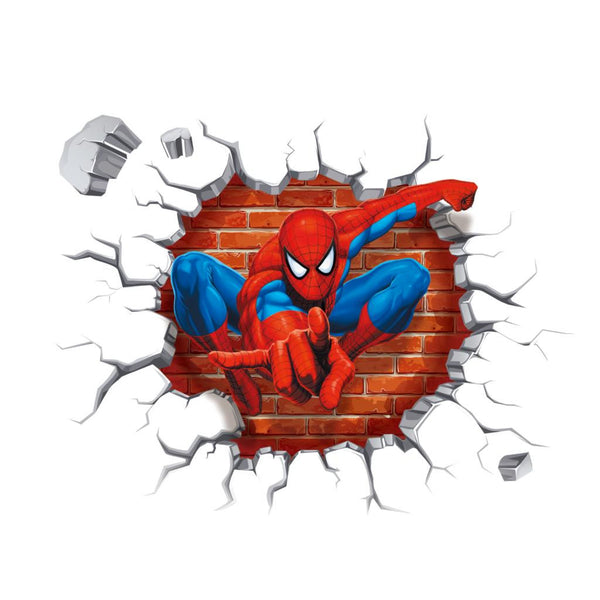3D Spiderman wall stickers for kids rooms decals home decor personalized Kids Nursery Wall sticker decoration for Boy room